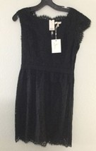 JOIE Lebanon Black Floral Lace Dress Sz L Cap Sleeve Lined Cocktail LBD NWT - $104.64