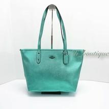 NWT New Coach F16224 City Zip Tote Handbag Purse Leather Metallic Sea Gr... - $118.95