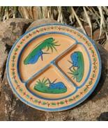 Vintage Mexico Tlaquepaque Resting JACK RABBIT Divided Clay Plate Folk Art - $43.31