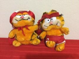 """Vintage 1978  Garfield R Dakin Plush Doll 8""""-9"""" Collectible 2 pieces - $30.00"""
