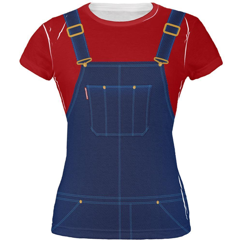 Primary image for Halloween Overalls Red T-Shirt Costume All Over Juniors T Shirt