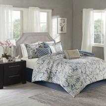 Luxury 7pc Blue & Beige Paisley Print  Comforter Set AND Decorative Pillows - $159.99+