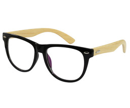 EBE Retro Style In Classic Gloss Black With Natural Bamboo Temples - $23.31+