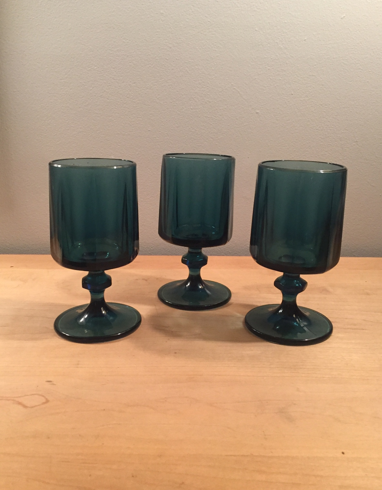 Denim blue goblets set of 3 made by Colony/Indiana Glass in the Nouveau pattern