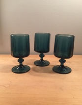 Denim blue goblets set of 3 made by Colony/Indiana Glass in the Nouveau pattern image 1