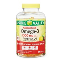 Spring Valley Omega-3 Fish Oil Soft Gels, 1000 mg, 120 Count..+ - $25.99