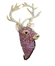 TTjewelry Fashion Animal Stag Deer Brooch Pin Austrian Crystal (Purple) - $26.73