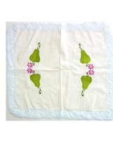 Vintage Embroidered Placemats Large Napkins Set of 2 Pear and Flower 60'... - $9.99
