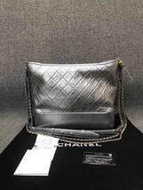 AUTH Chanel Large Gabrielle Quilted Leather Silver Hobo Bag GHW image 2