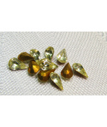 Jonquille Color Pear Shape Foil Back Vintage Rhinestones Czechoslovakia ... - $6.00