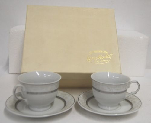 D Moda Silver Color Cup Saucer Set Opulence2 Expresso Collection
