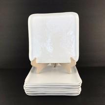 "Set of 7 Crate & Barrel Mercer Salad Plates White Square 8 1/2""   - $39.59"