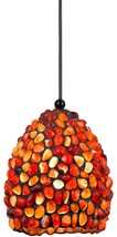 "Tiffany Mini Pendant Light Red & Gold Cabochons 4""Wx7.6""H - $299.99"