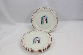 "Enchanted Forest Xmas Dinner Plates Snowman 10"" Lot of 8 - $68.59"
