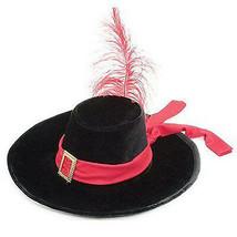Velours Noir Mousquetaire Chapeau Costume W / Plume Rouge Cavalier Pirate - €17,27 EUR