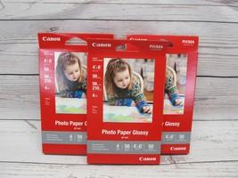 Lot 3 Canon PIXMA GP-601 Photo Paper 4 x 6 Glossy 50ct per pk NEW Free Shipping - $13.09