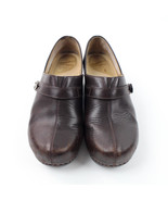 Dansko Womens 10 Clogs Comfort Shoes Brown Leather Round Toe Slip On Low... - $22.06