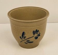 "VTG Pfaltzgraff Folk Art 4.5"" Pottery Flower Pot Vase Blue & Tan Crock FTDA 1984 - $12.86"