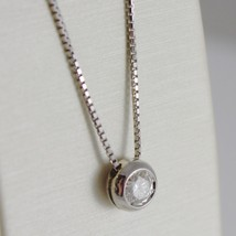 18K WHITE GOLD NECKLACE WITH DIAMOND 0.31 CARATS, VENETIAN CHAIN MADE IN ITALY image 2