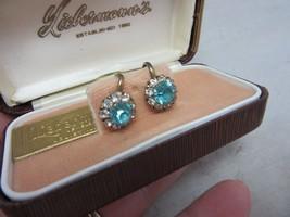 Vintage 1950's Liebermann's Jewelers box with rhinestone earrings - $18.99