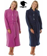 Ladies Fleece Dressing Gown Womens Button Through Robe Wrap With Tie Belt - $28.58