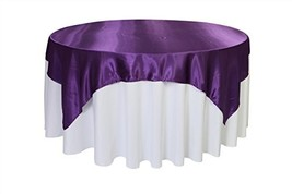 Your Chair Covers - 72 inch Square Satin Table Overlay Purple, Square Sa... - $11.14
