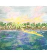 Lake View Original Acrylic Painting, Signed, 6 x 6, Unique Art - $35.00
