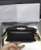 NWT Auth Chanel 2019 Chevron Quilted Leather Black Small Boy Flap Bag Matte GHW image 3