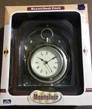 VTG Montclair Oak Wood Finish Quartz Mantel Desk Clock w/ Roman Numerals... - $27.94