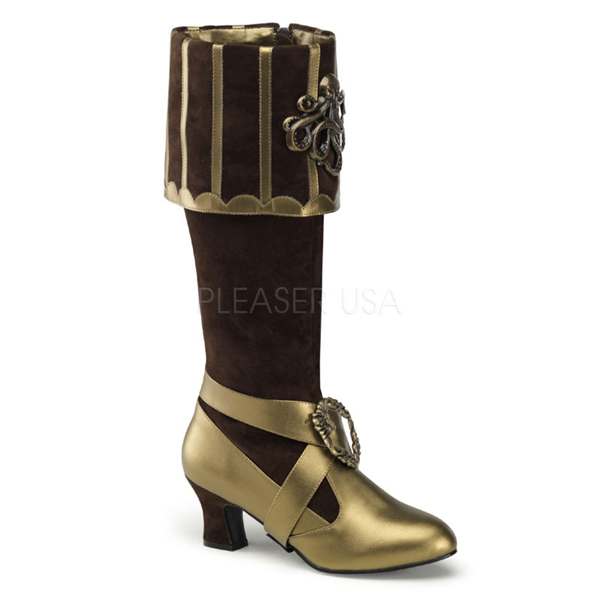 "FUNTASMA Cthulhu-299 Series 3 3/4"" Heel Costume Shoe - Brown Velvet-Bronze Pu"
