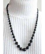 Elegant Knotted Black Cut Glass Necklace 1950s vintage - $24.70