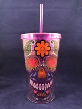 Cool Gear Tumbler Purple SUGAR SKULL 18 oz Reusable Travel Cup Halloween... - $22.76