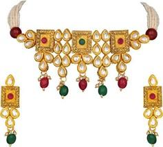 Multi Color Indian Traditional Wedding Gold Tone Kundan Pearl Jewelry Ne... - $34.64