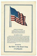 The Ladies of the Grand Army of the Republic American Flag Information 1943 - $37.72