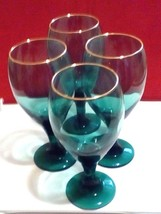Bright Christmas Green Wine/Water Goblets With Gold-Tone Edge Vintage. S... - $19.80