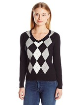 Caribbean Joe Women's Petite V-Neck Argyle Pullover Sweater, Black, PXL - $32.66