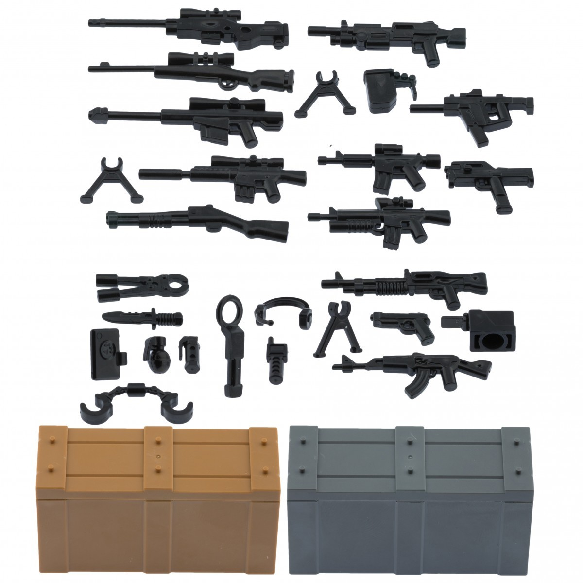 My military guns weapons pack for lego minifigures minifig accessories b weapons pack and crates