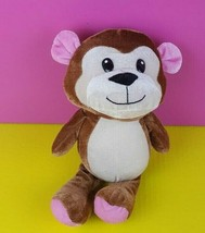 "Peek a Boo Toys Plush Brown Monkey Chimp 12"" Stuffed Animal Pink Ears Fe... - $9.89"