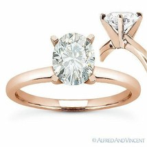 Oval Brilliant Cut Moissanite 4-Prong Solitaire Engagement Ring in 14k R... - £344.43 GBP+
