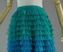 Multi-Color Tiered Tulle Skirt A-line Layered Tulle Midi Skirt Party Outfit image 8