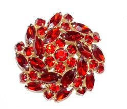 Designer Signed Ruby Red Starburst Dome Brooch Red Rhinestone  - $36.94
