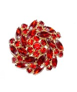 Designer Signed Ruby Red Starburst Dome Brooch Red Rhinestone  - $48.74 CAD