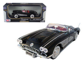 1958 Chevrolet Corvette Convertible Black 1/18 Diecast Model Car by Motormax - $55.84