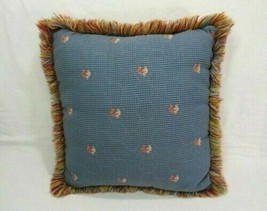 Waverly Rooster Chicken Wire Blue 16-inch Square Fringed Toss Pillow - $38.00