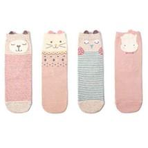 4 Pairs Cotton Crew Socks Calf Socks Warm Socks Gifts Girl's Lovely Socks [E]