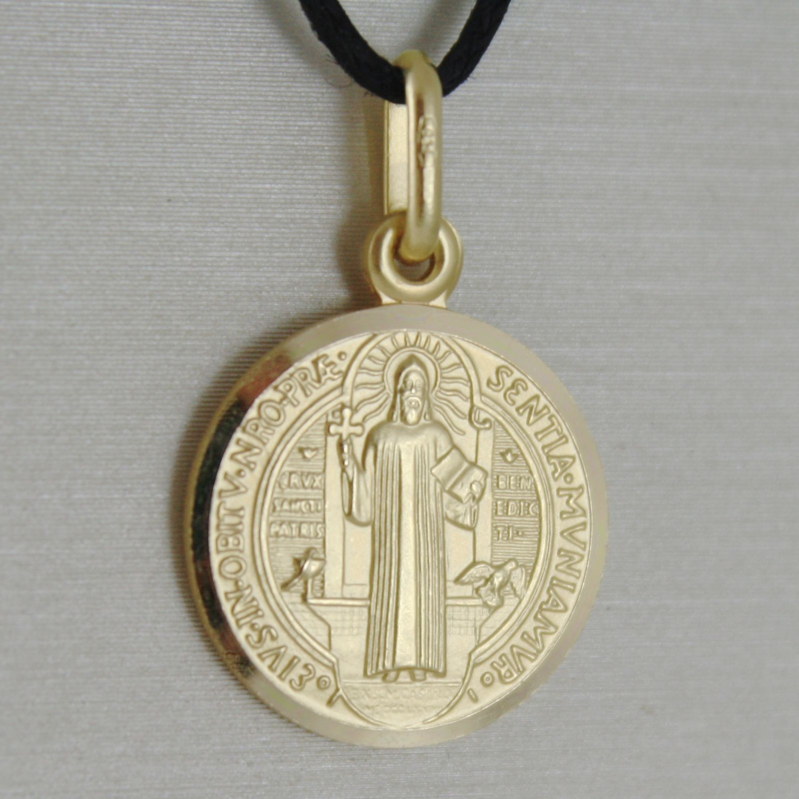 SOLID 18K YELLOW GOLD ST SAINT BENEDICT 17 MM MEDAL WITH CROSS, MADE IN ITALY