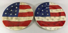 2 Sakura Colonial Salad Plates Red White Blue Stars & Stripes- 8 Sets Available - $12.95