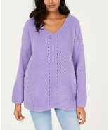 $54.50 Style & Co Cozy Chenille V-Neck Sweater, Lilac Kiss,  - $14.25