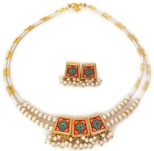 Indian Bridal Necklace Reversible Gold Plated Red Blue White Pearl Jewelry 2S - $14.95