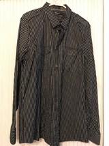 BLACK Long Sleeve striped shirt Men's size XXL Ships N 24h - $27.70